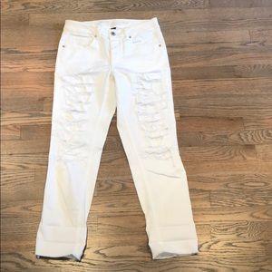 American Eagle ripped boyfriend white denim jeans